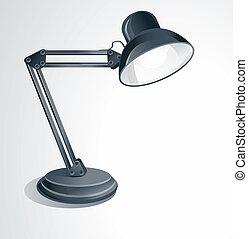 lámpara, vector, escritorio