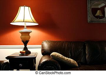 lámpara, y, el, sofá