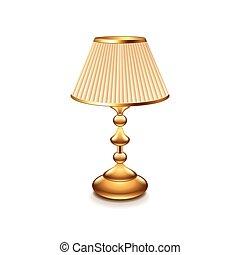 lámparade mesa, clásico, aislado, blanco, vector