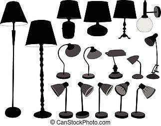 lámparas, vector, -, colección