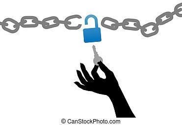 lánc zár, szabad, kéz, személy, kinyit, kulcs