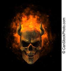lángoló, démon, koponya