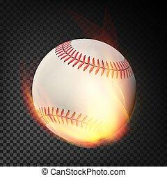 lángoló, gyakorlatias, baseball labda, hevül, repülés, át, a, levegő., égető, labda, képben látható, áttetsző, háttér