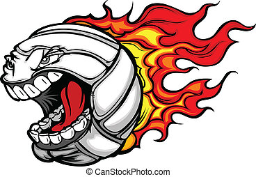 lángoló, röplabda labda, visító, arc, vektor, karikatúra