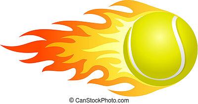 lángoló, teniszlabda