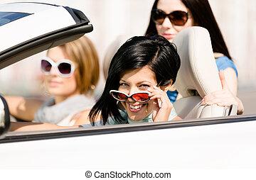 lány, átváltható, csoport, autó