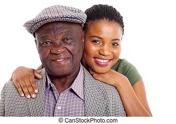 lány, atya, feláll, afrikai, becsuk, idősebb ember