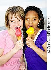 lány, birtoklás, fagylalt