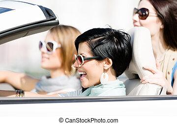 lány, csoport, autó
