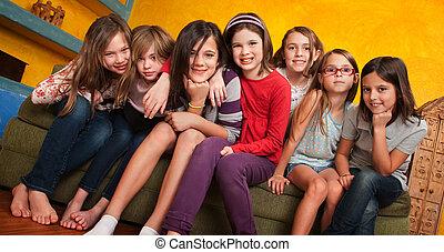 lány, csoport, fiatal