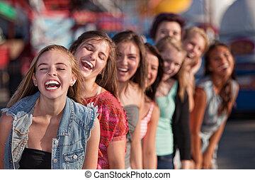 lány, csoport, nevető