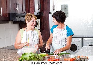 lány, főzés, középső, anya, idősebb ember, idős