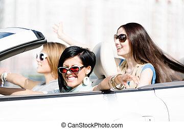 lány, fehér, csoport, autó