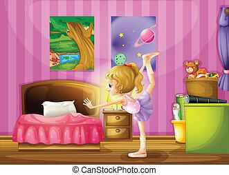 lány gyakorlás, szoba, neki, fiatal