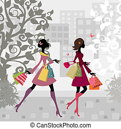 lány, gyalogló, mindenfelé, város, noha, bevásárlás