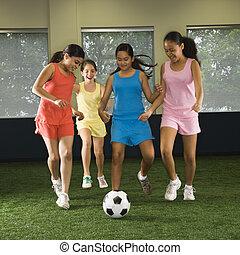 lány, játék, soccer.