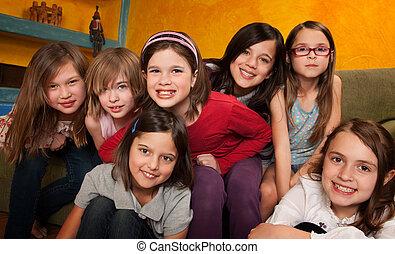 lány, kevés, csoport, boldog