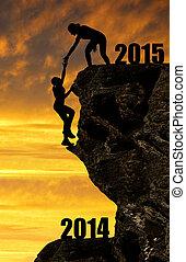 lány, mászik, bele, a, újév, 2015
