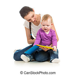 lány, neki, könyv, anya, csecsemő, felolvasás