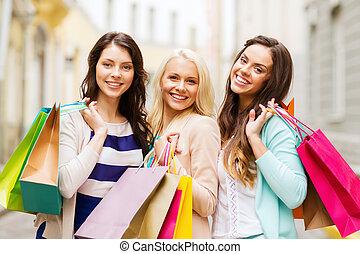 lány, noha, bevásárol táska, alatt, ctiy