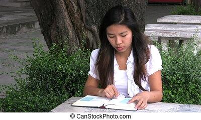 lány olvas, neki, biblia, és, imádkozás