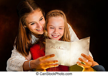 lány olvas, sister., kártya, karácsony