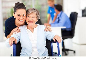 lány, orvos, látogató, kísérő, felnőtt, anya, idősebb ember