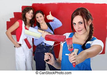 lány, piros közfal, festmény
