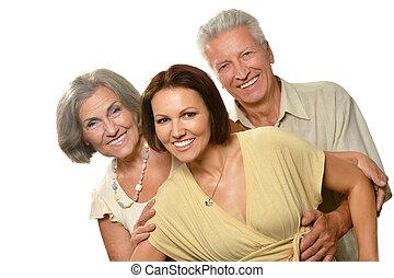 lány, szülők, öregedő