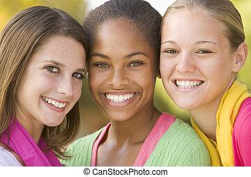 lány, tizenéves, csoport portré