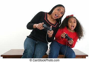 lány, video játék, anya