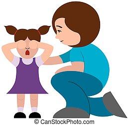 lány, vigasztaló, anya