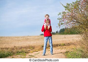 lánytestvér, övé, testvér, együtt, nevető, csecsemő, játék, boldog