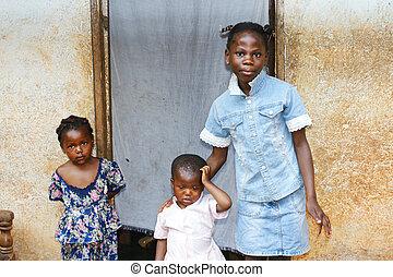lánytestvér, három, afrikai