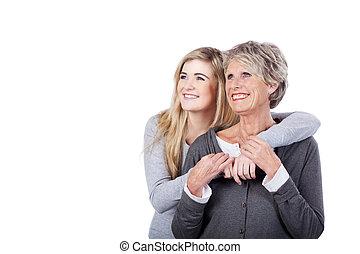 lányunoka, modern, feltevő, neki, nagyanyó