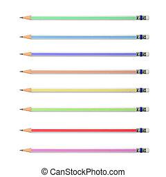 lápices, blanco, colorido, fondo.