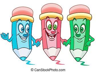 lápices, caricatura, colorante
