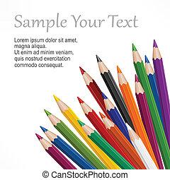 lápices, coloreado, de madera