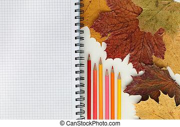 lápices, coloreado, tabla, cuaderno
