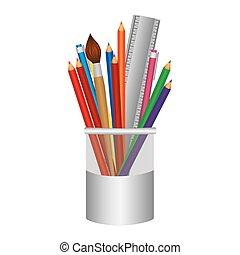 lápices coloreados, en, tarro, icono