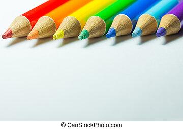 lápices de color, blanco, plano de fondo