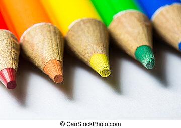 lápices de color, blanco, plano de fondo, primer plano, macro