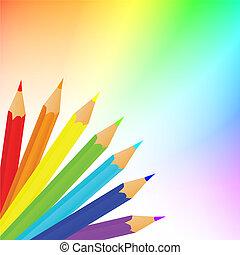 lápices, encima, arco irirs