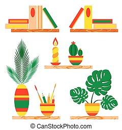 lápices, estantes, florero, aislado, ilustración, de madera, vector, white., vela, plantas, potted, tassels., libros