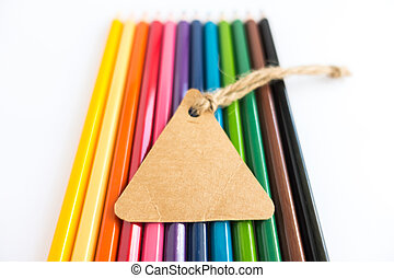 lápices, etiquetas, vendimia, color, venta, plano de fondo