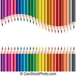 lápices, filas, coloreado