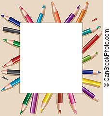lápices, hoja, coloró papel, blanco, ilustración, vector, debajo