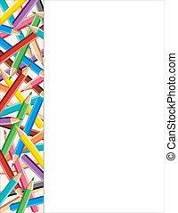 lápices, marco, coloreado, lado