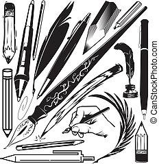 lápices, plumas, y