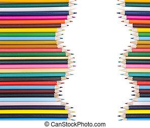 lápices, sombra, coloreado